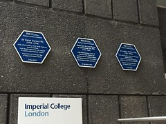 Three chemistry plaques at Imperial (Matt From London) Tags: science plaques lordporter chemistry imperialcollege hexagons derekbarton geoffreywilkinson conformationalanalysis flashphotolysis organometallicchemistry