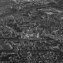 Iconic (thomas.drezet) Tags: city travel italy white black tower window contrast square airplane photography town miniature high cityscape symbol shift sunny aeroplane pisa faux format tilt iconic leaning airial