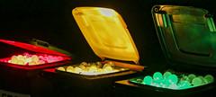 Light Bulbs (ToDoe) Tags: red green yellow lightbulb frankfurt lightbulbs garbagecan trashcan palmengarten dustbin wheeliebin lightinstallation glhbirnen colourartaward lichterzauber