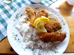 "Fish and rice <a style=""margin-left:10px; font-size:0.8em;"" href=""http://www.flickr.com/photos/7247047@N03/20984987748/"" target=""_blank"">@flickr</a>"