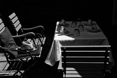 Summer Sunny Afternoon (Stephen L D'Agostino) Tags: shadow summer blackandwhite table