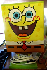 SPONGEBOB..... (Daisy.Sue) Tags: spongebobsquarepants brightlycolored putnamcounty carmelny childslamp kentrecyclecenter summer2015 yellowbluebrownwhitegreenblack polyethylenevinyl