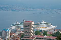 Port of Vigo from Monte del Castro (bvi4092) Tags: city travel cruise sea urban building water port photoshop boat mar dock spain nikon europe ship harbour cruiseship nikkor royalcaribbean vigo exploreroftheseas d300s 18105mmf3556 nikon18105mmf3556