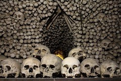 Bone chapel, Kutna Hora, Prague (Emily Sargeant) Tags: dark skulls prague chapel praha bones skeletons