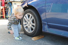 Just thought I'd help (KaseyEriksen) Tags: boy playing cars boys car youth children child play grandson helping
