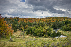 Somewhere in the Beaver Valley (laskaproject) Tags: autumn trees red sky ontario canada storm fall water leaves yellow clouds contrast river landscape woods scenery view dramatic overcast brucetrail beavervalley