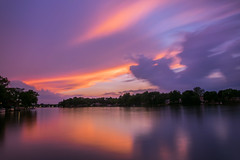 Summer sunset (tquist24) Tags: longexposure trees sunset sky reflection tree clouds reflections river geotagged evening nikon unitedstates pastel indiana elkhart stjosephriver nikond5300