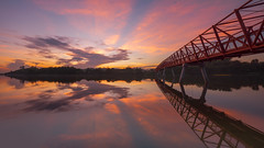 Blazing Trail (bing dun (nitewalk)) Tags: morning bridge red panorama sunrise landscape singapore outdoor sony nostalgia punggol rays reverse epic pasir nisi ris lorong gnd halus a7r fe1635