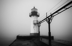 St. Joseph Lighthouse (mswan777) Tags: fog ansel lighthouse pier lake michigan glass light winter great lakes st joseph outdoor scenic quiet walkway elevated concrete steel