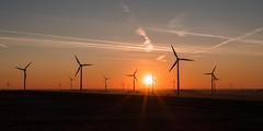 Sunset at Oermter Berg (Ir3nicus) Tags: nikond750 dslr fullframe germany deutschland sunset windturbine windenergy windkraft windrad sky horizon vaportrails yellow afs50mm14g 50mm prime landscape countryside