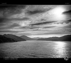 Islands in the Sun II (tomraven) Tags: blackandwhite marlboroughsounds tomraven aravenimage water clouds islands sun sky cloud sound q12017 lumix gf1