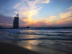 Sunset over the Burj al Arab this evening. (charliesburns_3) Tags: uae beach waves sand sea sunset dubai burjalarab burj
