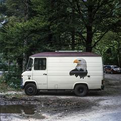 Eagle has landed. (wojszyca) Tags: yashica mat 124g tlr 6x6 120 mediumformat kodak ektachrome e200 expired gossen lunaprosbc epson v800 car auto van truck mercedes soloparking carpsotting vanlife camping slovenia