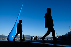 Evolution (johnjackson808) Tags: art fujifilmxt1 vancouver vancouvertradeandconventioncentre blue downtown harbour people sculpture silhouette streetphotography