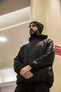 Enmanuel Candelario Watches a Witness Against Torture Demonstration at Union Station