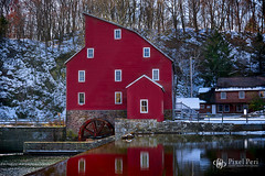Red Mill (PixelPeri) Tags: redmill red newjersey nj clinton reflections water snow winter beautiful world beautifulworld sony sonya6000 sonyalpha