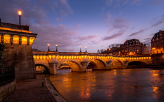 Pont Neuf Paris (photoserge.com) Tags: pont neuf paris reflection view night photography blue hour sky clouds bridge