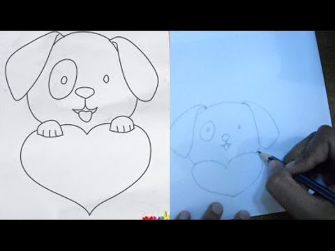 how to draw a cute puppy love heart