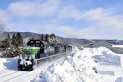 Nouvelle-Ouest (Michael Berry Railfan) Tags: nouvelleouest train freighttrain windmilltrain sociétéduchemindeferdelagaspésie sfg1819 sfg snow winter gaspesie quebec