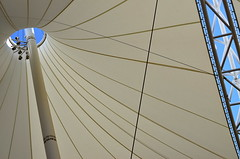 Under Full Sail (MPnormaleye) Tags: city sky urban 35mm awning outdoors design patterns structure pole canvas shade frame utata sail utata:project=tw488