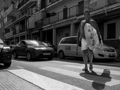Where's the beach? (avriel) Tags: street blackandwhite man spain crossing lilo mallorca majorca elarenal ballearics