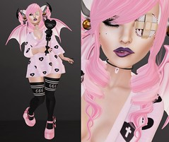 Post #1625 ( =^^=) Tags: pink black cute feet stockings gold punk cross mesh skin bell body head witch pastel grunge avatar emo goth bat wing young 666 spooky ali curly secondlife kawaii bubble kimono forever horn swallow coffin hud rare leggings gacha applier pinkatude suicidalunborn pixelgeek