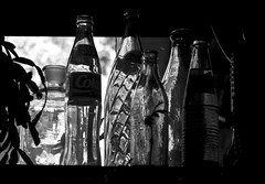 OLD BOTTLES / ANTIGUAS BOTELLAS (jpi-linfatiko) Tags: old blackandwhite bw blancoynegro glass vintage contraluz dark monocromo blackwhite nikon bottles bn retro antiguo vidrio blanconegro oscuro botellas d3200