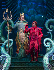 Fred Inkley as King Triton and Melvin Abston as Sebastian in Disney's The Little Mermaid presented by Broadway Sacramento at the Community Center Theater Feb. 2-7, 2016. Photo by Bruce Bennett, courtesy of Theatre Under The Stars.