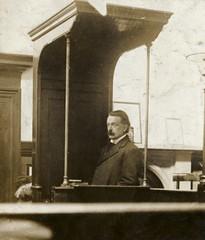 David Lloyd George in the witness box, 1908.