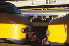 Once upon a time - The Netherlands Utrecht - A difference in hight (railasia) Tags: holland detail utrecht ns cs eighties coupler mat64 provinceutrecht mat54