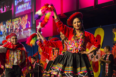 Andean Dancers Representing Peru During BYU Fiesta Night (aaronrhawkins) Tags: show costumes girls party college peru boys students colors america fun happy dance colorful fiesta stage south aaron band smiles hats center dresses andes multicultural hawkins authentic byu energetic brighamyounguniversity