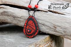 Polymer clay pendant (mountain.pearls) Tags: red mountain black necklace jewelry pearls kutin nataša nakit ogrlica rdeča črna hozjan