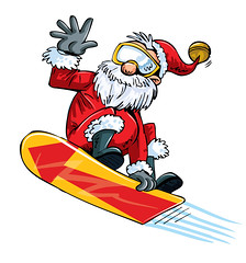 Cartoon Santa doing a jump on a snowboard (ON AIR  Music & Video Scheduling Tools) Tags: board caucasian extreme isolated white man red blue sky winter snow cloud fun mountains adult air cold ski sport celebration christmas santa xmas activity santaclaus cartoon jump senior action glasses fly snowing christmastree skiing weight snowboard snowboarding festivity christmastime fatherchristmas wintersports snowboarder