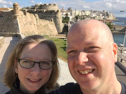 Us at Plaza de Armas de las Muralla Reales in Ceuta, Spain