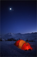 Under the moon (Frank S. Andreassen) Tags: night stars cold tent mountains sky moon winter blue nature frank andreassen nettfoto snow norway nordnorge