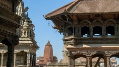 Panorama of a Nepali temple. (ChrisDortch) Tags: view ancient antique architecture asia asian bhaktapur blue buddha buddhism buddhist building city culture durbar flag gold heritage hindu hinduism holy india indian kathmandu monastery monkey nepal old pagoda palace people place prayer red religion religious sacred scene shrine spiritual square statue stupa sunset temple tibet tibetan tourism traditional travel