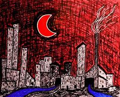 Halvmånebyen ©JacobSibbern (©Stefano Wolf) Tags: moon moonart balloonart balloon redballoon drawingart drawing drawingartist art artist arte artista artwork jacobsibbern redmoon luna lunarossa disegno rosso red