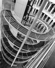 Journey To The Core (Douguerreotype) Tags: uk gb britain british england london architecture buildings stairs steps spiral helix bw blackandwhite mono monochrome