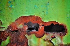 Green + Rust (holly hop) Tags: maldon station train railway centralvictoria goldfields metal iron corrosion hole abstract green greenrust peelingpaint redrust rusty rustyandcrusty steel texturaltuesday texture hat