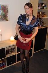 Bubbly (Rikky_Satin) Tags: silk satin blouse skirt highheels pumps leather crossdresser transvestite transgender tranny sissy secretary scarf handbag