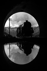 Shelter from the rain (Treflyn) Tags: weather rain worse mytholmes tunnel lms hughes crab 260 13065 reflection large puddle 3p20 parcels photo charter keighley worth valley railway