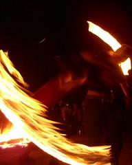 P4170427 (DBTabasco) Tags: firedrums rwb redwhiteandbluebeach fireperformance fire april16th2005 staff