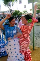 Las sevillanas (freddy) Tags: travel girls vacation espaa dance sevilla spain dress dancing feria seville polkadots dresses flamenco fria europe2005