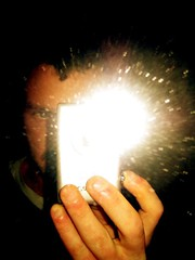 flash! ah-ahhh (GatheringZero) Tags: chris selfportrait eye me photoshop altered mirror flash ixus christophe sharpy