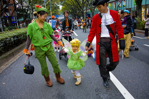 Peter Pan Mom, Captain Hook Dad, & Tinkerbelle by Buz Carter.