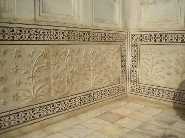 Taj Mahal inlaid precious stones and carved marble