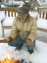 Tim March 12 at our sunrise fire (MaureenShaughnessy) Tags: winter snow cold fire spring montana warm seasons flames elements helena equinox wintercolors coldseason christmasadvent seasonalrhythmswinter
