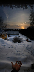 I give you... (Steffe) Tags: winter sunset sky autostitch panorama orange sun snow nature topf25 car vertical landscape europe contrail hand view topv999 surreal greenhouse topv777 portfolio yf top20fav2005 20topfaves2005 winterinsweden