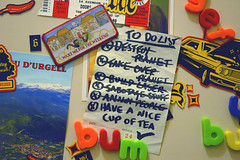 A Day in the Life of a Tea-Sipping Megalomaniac. (Mr-Wild) Tags: list fridge magnets plans strategy tea planetwide destruction todo note memo paper 25