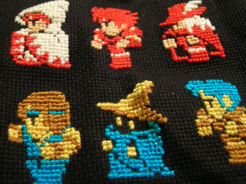 final fantasy cross stitch sampler